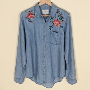 Rails Chambray Floral Embroidered Button down S